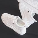 休閒鞋 2020夏季新款透氣厚底小白潮鞋女鞋帆布百搭學生休閒運動板鞋白鞋「草莓妞妞」