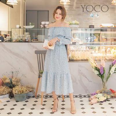 東京著衣【YOCO】典雅印花荷葉拼接一字領洋裝-S.M.L(171857)