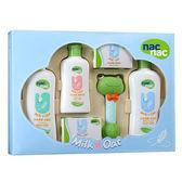 【奇買親子購物網】寶貝可愛 nac nac牛奶燕麥護膚禮盒五件組/附提袋