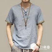 大碼男裝中國風男士薄款盤扣短袖T恤青年中式夏裝透氣仿亞麻上衣-奇幻樂園