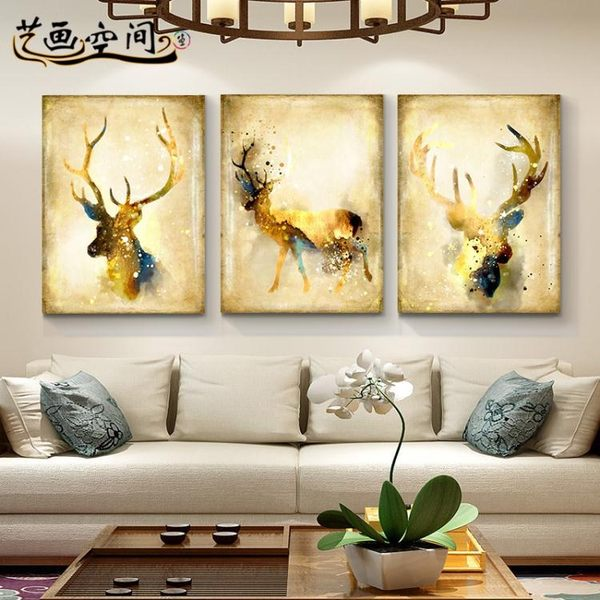 壁畫 簡約客廳沙發背景墻裝飾畫 jy臥室三聯畫無框畫北歐麋鹿墻畫掛畫【快速出貨八折鉅惠】