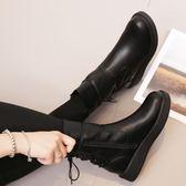 新款秋冬女鞋百搭英倫馬丁圓頭平底短靴棉靴加絨靴子女中筒靴 七夕情人節