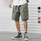 短褲 日系潮流口袋工裝五分褲 伸縮腰圍設計 【TJHKKZ764】現貨+預購