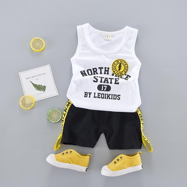 字母燙印棉質背心 + 潮流短褲 寶寶套裝 YN1614 好娃娃童裝