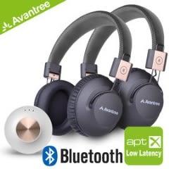 【風雅小舖】【Avantree藍牙低延遲音樂傳輸同樂組 - Priva音樂藍牙一對二發射器+無線NFC耳罩耳機x2】