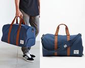 Hsin 84折 現貨 Herschel Novel 深藍 皮革提把 可放鞋 大容量 手提 側背 帆布 出國 登機 行李 旅行 提袋