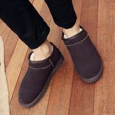 新款冬季男士雪地靴短筒真牛皮矮筒斜口雪地棉加絨男女鞋保暖短靴