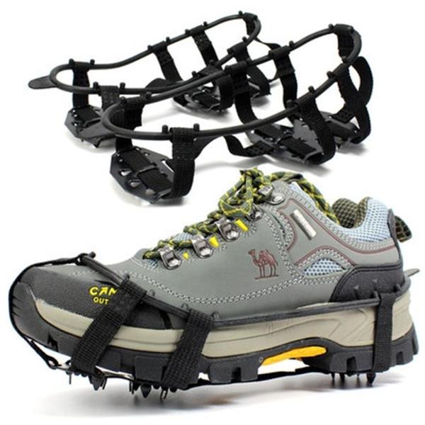 戶外24齒錳鋼冰爪防滑鞋套雪爪登山釣魚鞋釘雪地泥地冰抓攀巖攀冰 小明同學