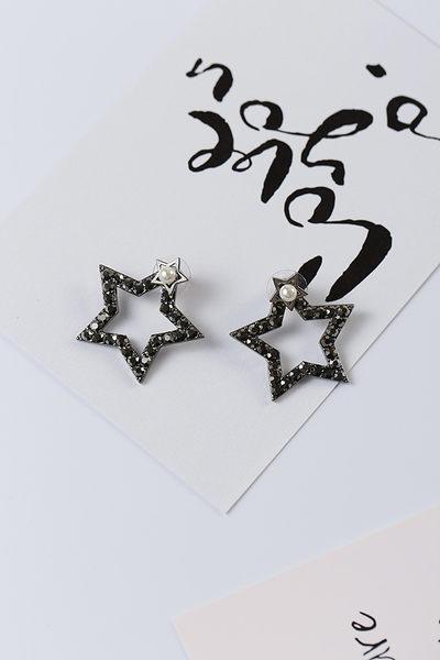 Qmigirl 新款韓版飾品韓版百搭簡約百搭大小五角星閃鑽珍珠前後款耳環耳釘【G2281】