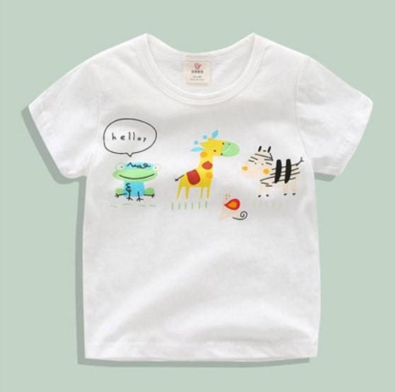 【童裝】好朋友三人組 長頸鹿青蛙斑馬 男童 女童 圓領上衣 白色短袖T恤