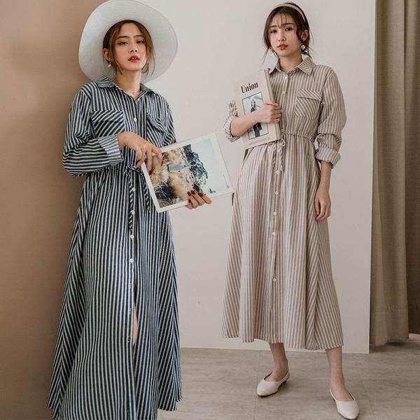 MIUSTAR 掀蓋雙口袋腰綁帶直條紋襯衫洋裝(共3色)【NJ0274】預購