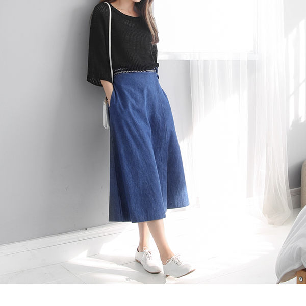 《BA2958》造型圖騰釦環腰帶片裙設計九分牛仔寬褲 OrangeBear