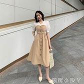 抹胸裙夏季中長款法式復古拼接假兩件顯瘦休閒短袖收腰時尚氣質洋裝女 蘿莉小腳丫