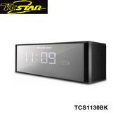 T.c.star 連鈺 電鍍鏡面插卡帶鬧鐘FM無線藍牙喇叭(黑色) TCS1130BK