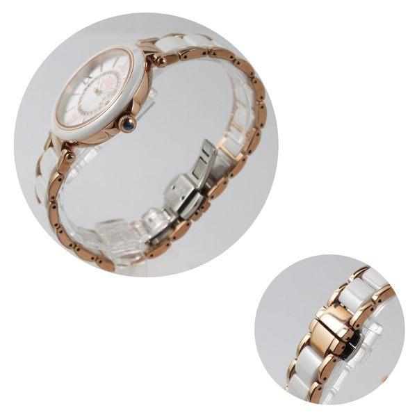 【萬年鐘錶】 NATURALLY JOJO  晶鑽點綴 羅馬時標 日期 珍珠貝錶面 白框 白+玫瑰金錶帶陶瓷錶JO96891-81R