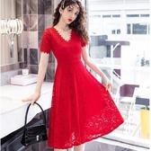 紅色洋裝顯瘦連身裙V領顯瘦腰身宴會謝師宴黑色大紅洋裝[18069-QF]美之札