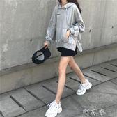 韓版寬鬆字母印花開叉連帽衫長袖上衣港風套頭衛衣外套女學生 町目家
