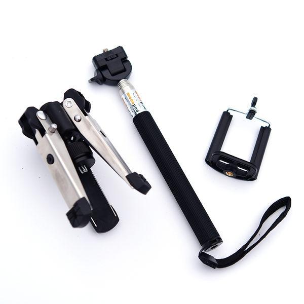 【黑熊館】 自拍神器 套裝組 自拍棒 六段收納迷你手持自拍桿 + 手機夾 + 鋁合金迷你自拍三腳