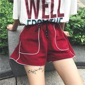 女裝寬鬆百搭休閒褲明線寬管褲運動褲學生外穿直筒褲短褲   居家物語