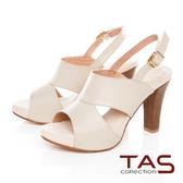 TAS鏤空剪裁魚口高跟涼鞋–簡約米