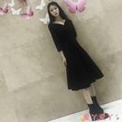 小禮服 赫本小黑裙2021秋冬裝新款V領氣質性感年會禮服復古長款連身裙女 愛丫 免運