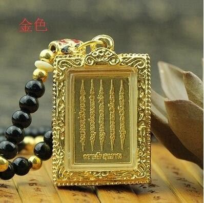 泰國佛牌正品代購安吉麗娜朱莉刺符大師阿贊奴五條經文佛牌(主圖款金色)
