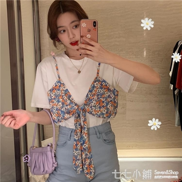 夏季2021新款韓版假兩件拼接碎花短袖T恤女設計感小眾寬鬆上衣潮