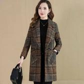L-4XL滿千免運~呢子外套~大碼女裝呢子大衣女中長款媽媽裝韓版新款格子毛呢外套8805.N518C衣時尚