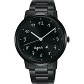 agnes b. 簡約時尚手寫時標手錶-黑/37mm VJ32-KZD0SD(BG8008X1)