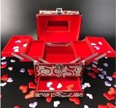 首飾盒結婚鏡箱新娘密碼箱珠寶錢箱百寶箱實木嫁妝鏡箱陪嫁收納盒 居享優品