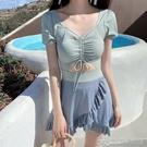 韓國泳衣女ins日韓風連體保守裙式bikini新款2021溫泉游泳裝