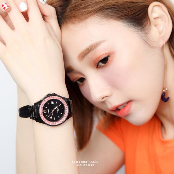 CASIO卡西歐 雙層粉鑽休閒運動腕錶 個性黑色系手錶【NEC52】