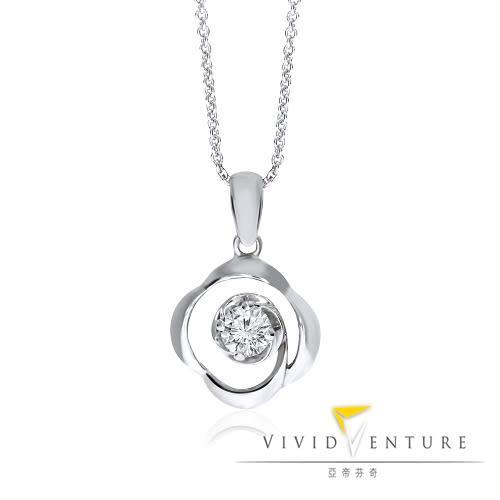鑽石項鍊 0.18克拉 白K金 亞帝芬奇 漣漪