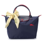 Longchamp 1621 LE PLIAGE 奔馬刺繡短提把小型尼龍摺疊水餃包(海軍藍-含帕巾)480206-556