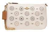 COACH 女款皮質鏤空花朵小號鏈條吊牌手提包