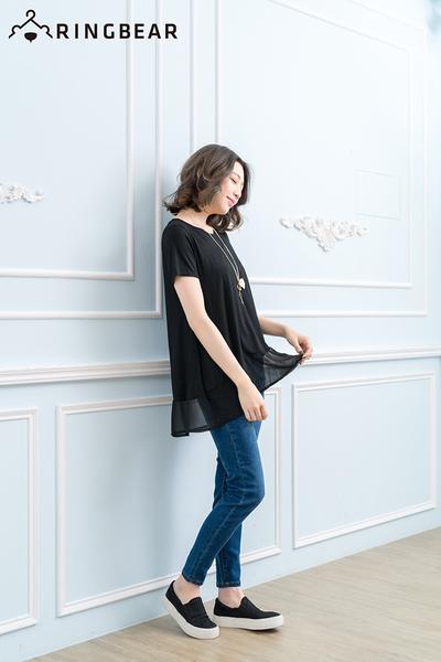 長版T恤--簡約率性舒適純色下擺拼接雪紡長版上衣(黑.藍XL-3L)-D270眼圈熊中大尺碼
