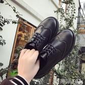牛津鞋英倫復古圓頭小皮鞋女黑色低跟粗跟平底牛津鞋布洛克單鞋 春季特賣