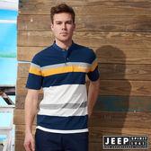 【JEEP】亨利領撞色條紋短袖POLO衫 (藍)