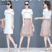 2020年夏裝新款韓版時尚露肩連身裙洋裝女洋氣減齡蕾絲半身裙子套裝潮 OO8734『黑色妹妹』