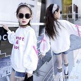 女大童連帽T恤女童秋裝新款韓版休閒外套童裝上衣兒童洋氣連帽T恤秋 晴天時尚館
