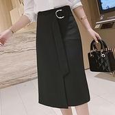 半身長裙2021秋季新款韓版高腰日式不規則開叉中長工裝半身裙一步裙女洋氣 JUST M