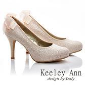 ★2015秋冬★Keeley Ann 新娘物語~溫柔線珠蝴蝶結真皮軟墊高跟鞋(淺粉色)