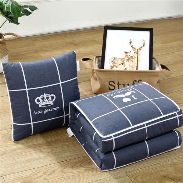 摺疊汽車抱枕被子兩用車載靠墊辦公室靠背午睡空調被沙發靠枕頭被 喵小姐