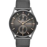 SKAGEN 都會米蘭日曆石英腕錶/手錶-鐵灰/40mm SKW6180