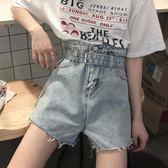 夏季女裝韓版百搭高腰牛仔褲短褲腰帶毛邊學生闊腿褲熱褲直筒褲潮