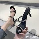 PAPORA百搭水鑽高跟涼鞋高跟拖鞋KK4599