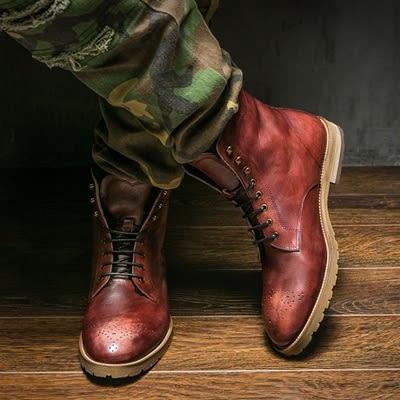 真皮中筒靴-加絨巴洛克雕花保暖羊毛男靴子2色73kk29[巴黎精品]
