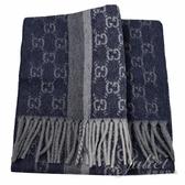 茱麗葉精品【全新現貨】GUCCI 391530 雙G LOGO 喀什米爾羊毛流蘇長圍巾.藍/灰