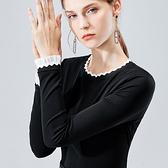 圓領長袖內搭法式優雅黑白撞色小香風上衣(S-3XL可選)/設計家 AL29691