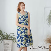 【Tiara Tiara】百貨同步 水彩花繪無袖背心洋裝(藍)